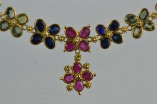 Yellow metal & sapphire multi-colour necklace, tests positive for 9ct gold, circumference 400mm, 4.3