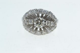 18ct white gold & diamond cluster ring, size N1/2, 6 grams