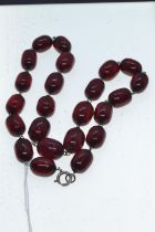 Cherry amber bead necklace, circumference 480mm, 42 grams