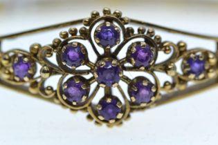 9ct gold & amethyst hinged bracelet, inner width 55mm, 16.3 grams