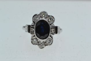 18ct gold, sapphire & diamond cluster ring, size L1/2, 6.32 grams