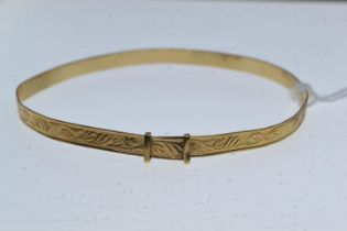 9ct gold bangle, inner width approximately 65mm, 5.31 grams