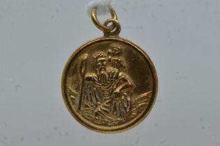 9ct gold St. Christopher medal pendant/charm, length including bale 20mm, 1.25 grams