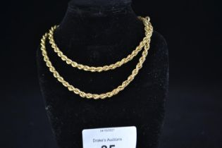 9ct gold rope neck chain, circumference 465mm, 6.61 grams