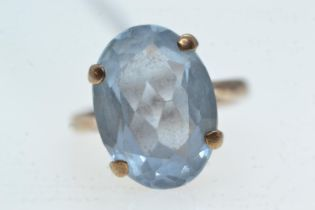 9ct gold & blue stone ring, size J, 4.53 grams