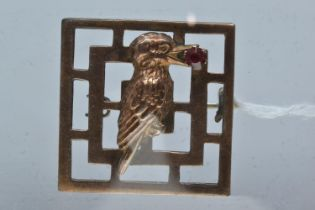 9ct rose gold silver lined kookaburra brooch, 26mm wide, gross weight 3.35 grams