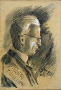 Hanoff, E.Musikerbildnis (Dresden). Graphit- und Kohlezeichnung, partiell weiß gehöht. 1926