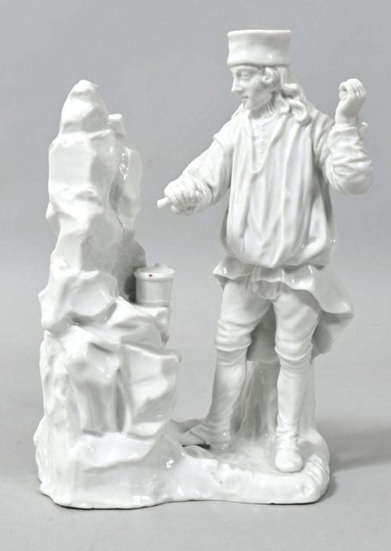 Porzellanfigur Einmannbohrer, Fürstenberg, 2. H. 18. Jh.Modell Simon Feilner, aus der Serie - Bild 2 aus 3