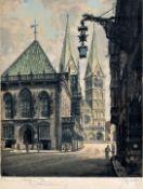 Scholz, Willy. 1899 Heilbronn-1965 MünchenAnsicht von Bremen: Rathaus und Dom. Farbradierung