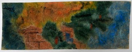"Monogrammist ""PF"" (?), 20. Jh.Abstrakte Komposition. Aquarell auf faserhaltigem Seidenpapier,"