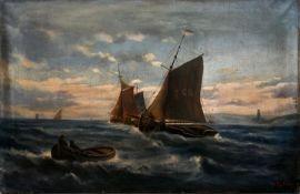 Rübner, B.Maritime Szene (Fischerboote auf See). Öl auf Leinwand. Erste Hälfte 20. Jh. Sig