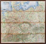 Straßen-Übersichtskarte Deutschland und Nachbar-Gebiete, 1930er JahreFaltkarte, Farblithogr