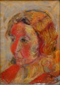 Monogrammist D.S.Expressives Damenportrait (Im Feuerschein?). Öl auf Leinwand. Erste Hälfte