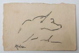 Richter, Etha. Dresden 1883 - 1977Tierdarstellung Eisvogel (?)/ Hundekopf (?), Bleistiftskizz