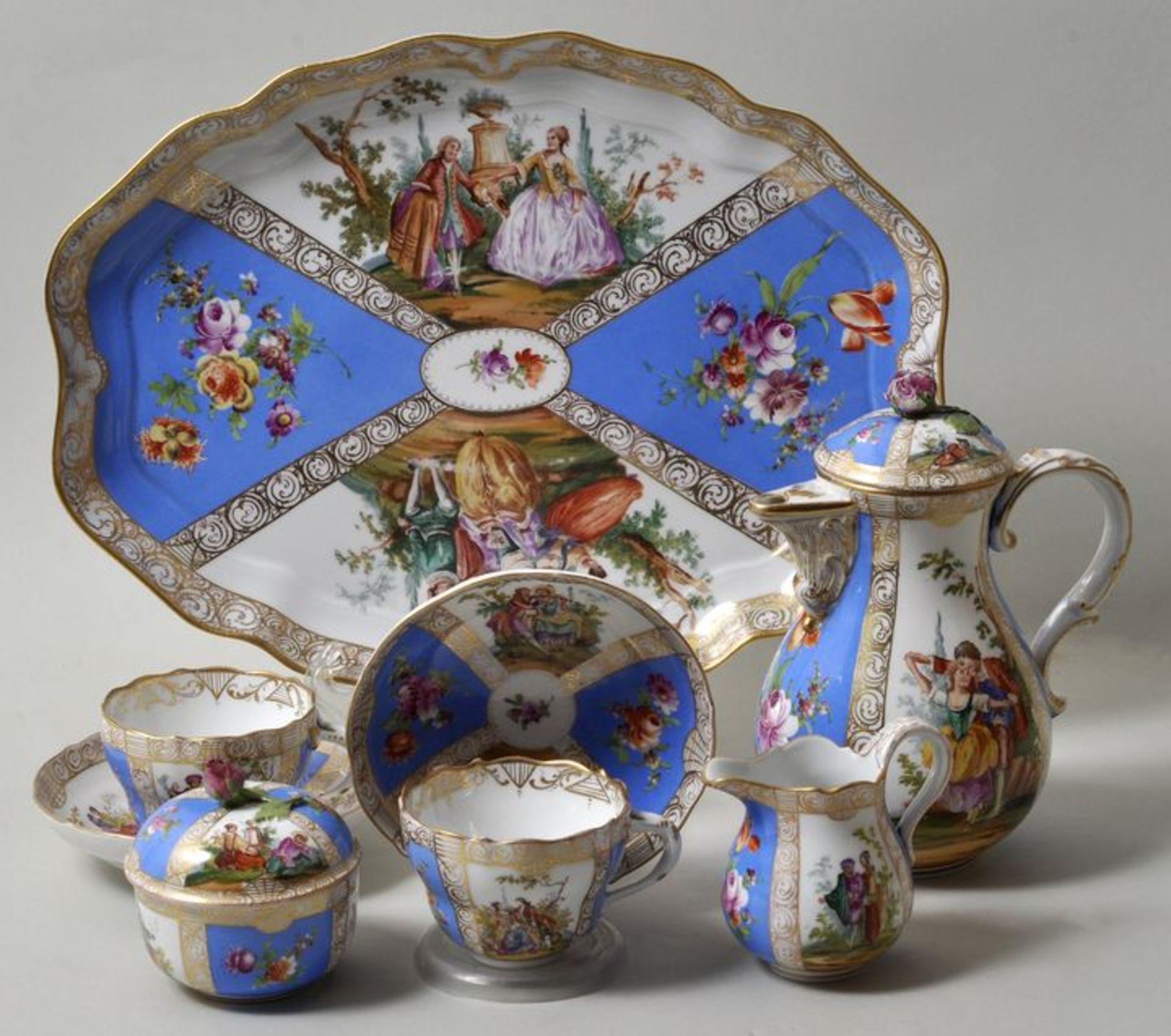 Dejeuner, Meissen, Bemalung Helena Wolfsohn, ca. 18608-teilig, bestehend aus Tablett mit zwei