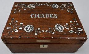 Zigarrenkästchen mit floralen PerlmutteinlagenHolz, Perlmutt Gebrauchsspuren, Sammlernummeri