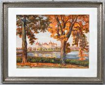 Hübschmann, Karl. 1878 Erfurt - 1955Schloss Moritzburg im Herbst. Aquarell/ Gouache/ Tuschfe