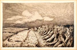 Ende, Hans am. 1864 Trier - 1918 StettinSommerliche Landschaft: Getreidepuppen auf Feld. Radi