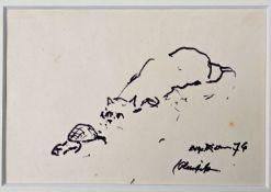 Richter, Etha. Dresden 1883 - 1977Katze belauert eine Schildkröte. 1976. Filzstiftzeichnung,