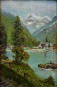 Monogrammist ESKleine Alpenseelandschaft mit Raddampfer. Öl auf Malpappe. 1905. Monogrammier