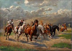 Lehmann, H.A.Mustang-Hatz. Öl auf Leinwand. Erste Hälfte 20. Jh. Signiert unten rechts. Ung