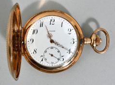 Herrentaschenuhr, Deutschland, Anf. 20. Jh.Vergoldetes Savonette-Gehäuse, guillochiert, Emai