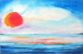 Undeutl. sign., dat. 2001Sonnenuntergang über dem Meer. Seidenmalerei, re. u. sign. und dat.