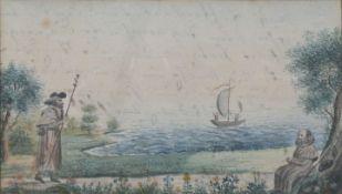 Unbekannt, um 1830/1840Zwei Jakobspilger in Landschaft. Aquarell, rückseitig in Tinte beschr