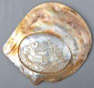 Muschel mit Darstellung der AthenePerlmutt Sammlernummerierung auf der Rückseite, leichte Be