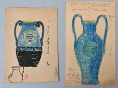 Feuerriegel, Kurt. 1880 Meißen-1961Zwei Entwurfszeichnungen für Keramik-Krüge, Bleistift/