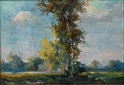 Unbekannter LandschaftsmalerSpätsommerlicher Birkenhain. Öl auf Hartfaser. Um 1960/70. Sign