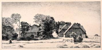 Wedepohl, Gerhard. 1893 Schönebeck b. Bremen-1930 Bremen Norddeutsche Landschaft mit Bauernhäusern.