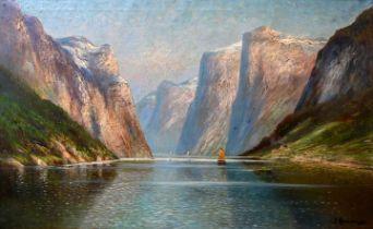 Hendrich, B. sign. Gemälde, Fjord / Hendrich, B., landscape