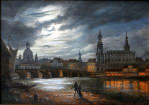 Gemälde Mondschein über Dresden / View of Dresden