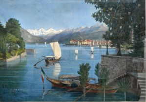 Paulcke, Aquarell Pallanza am Lago Maggiore / watercolour