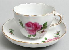 Tasse mit Untertasse Meissen rote Rose / cup and saucer