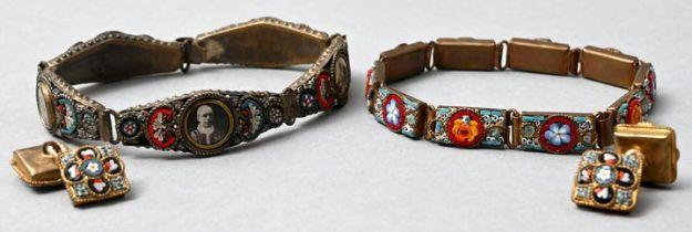 2 Armbänder und Manschettenknöpfe, Mikromosaik / bracelets and cufflinks
