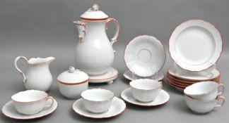 Kaffeeservice, Meissen, koralleroter Rand, 20 Teile / coffee set