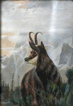 Schattan, V., Aquarell gerahmt, Gamsbock / painting