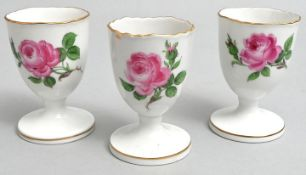 Eierbecher, Meissen, rote Rose/ egg cups