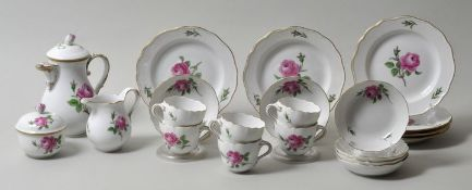 Mokkaservice, Meissen, rote Rose / mocha set red rose