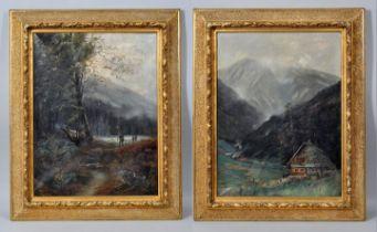 Monogrammist Paar Gemälde ''Alpen'' / paintings