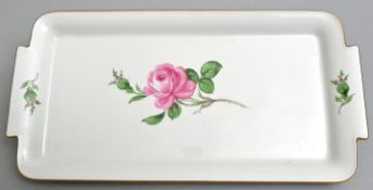 Tablett, Meissen, rote Rose/ serving plate