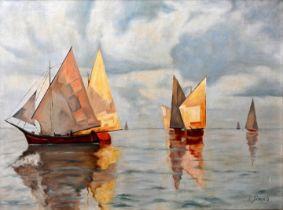 Simon, C. Gemälde, Segelboote / Simon, C., painting, boats