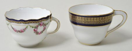 Tassen, Meissen, blau-gold / two cups