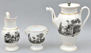 Porzellan, Kernstück / coffee pot, sugar bowl and creamer