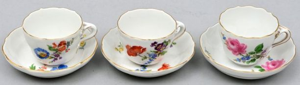 Drei Mokkatassen, Meissen / Three mocha cups