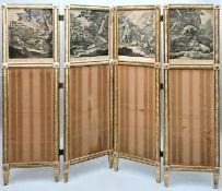Paravent, 4 Radierungen-Stiche / Screen with etchings