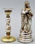 Zwei Teile Bauernsilber / madonna and candlestick