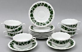 Acht Tassen mit Untertassen / Eight cups with saucers